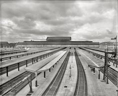 "Washington, D.C., circa 1928. ""Railyard, Union Station."" 4x5 inch dry plate glass negative, Harris & Ewing Collection."