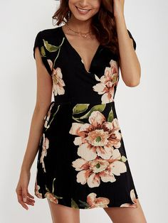 V-neck Random Floral Print Self-tie Dress