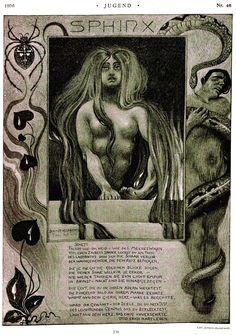 "Carl Schmidt-Helmbrechts (1871-1936), 'Sphinx', from ""Jugend"", 1896 Source: http://digi.ub.uni-heidelberg.de/diglit/jugend1896_2/0305/"