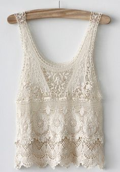 Beige Hollow-out Embroidery Round Neck Sleeveless Lace Tank Top