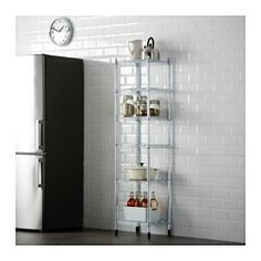 IKEA - OMAR, 1 section shelving unit, Easy to assemble – no tools required.Also stands steady on an uneven floor since the feet can be adjusted. Wire Shelving, Storage Shelves, Tall Cabinet Storage, Pantry Shelving, Shelving Units, Storage Cabinets, Tall Shelves, Wire Storage, Ikea Pantry