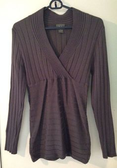 Ladies Med Gray Long Sleeve V-Neck Fitted Ribbed Blouse #Dots #Blouse #Anytime $3.99 @Ebay
