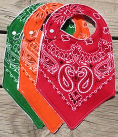 Western Bandana Baby Bibs  Set of Three by margaretmeletha on Etsy, $20.00                                                                                                                                                                                 More