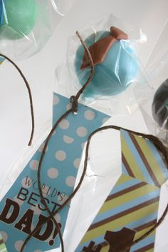 "dad's day - ""tie-riffic"" cake pops (link on site - printables for paper ties)"