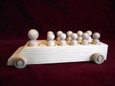 Bus with Peg Dolls Unfinished Pine Bus with by ClickityClack, $9.50
