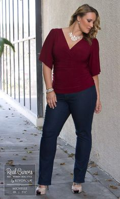 """Partner Development Manager Michelle (5'11"""" and a size 0x) is absolutely gorgeous in our plus size Keira Kimono Sleeve Top and NYDJ Marilyn Straight Leg Jeans. www.kiyonna.com #KiyonnaPlusYou #MadeintheUSA #OOTD #Kiyonna"""