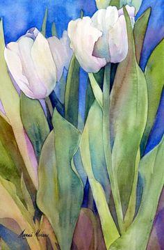 Marni Maree White Tulips , watercolor,10x6