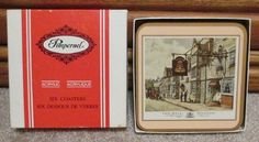 Click on the photo to see this item in our Ebay store!  Vintage Pimpernel Coasters English Cottages Set of 6 in Box, Acrylic & Cork #Pimpernel #vintage #old #shabby #coasters #English #cottages #set