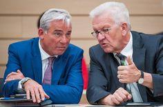 Innenminister Thomas Strobl (CDU, links) und Ministerpräsident Winfried Kretschmann (Grüne) haben das weitere Anti-Terror-Paket vorgestellt. Foto: dpa