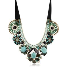 "Ranjana Khan ""Earth"" Turquoise-Color and Onyx Scalloped Necklace ($560) ❤ liked on Polyvore featuring jewelry, necklaces, turquoise necklaces, onyx jewelry, ranjana khan, onyx necklace and green turquoise necklace"