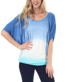 Loving this Blue & White Tie-Dye Cape-Sleeve Top on #zulily! #zulilyfinds