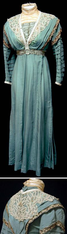 Day dress, Edwardian era. Blue-green silk faille with an intricate cutwork lace collar and cuffs. Pleated sleeves and bodice inset. Fresno State Univ., Theatre Arts Dep't.