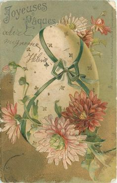 pink/rust chrysanthemums surround enormouse egg tied with green ribbon - TuckDB Postcards Easter Art, Easter Crafts, Fete Pascal, Easter Flowers, Easter Parade, Easter Printables, Easter Holidays, Holiday Postcards, Pics Art