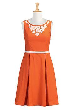 I <3 this Retro style graphic applique dress from eShakti