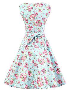 Women's Mint Floral Dress , Vintage Sleeveless 50s Rockabilly Swing Short Cocktail Dress 4599006 2016 – $22.99