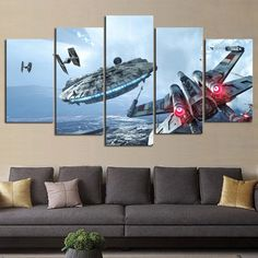 Hot Price Artryst HD Print 5 pcs canvas wall art Millennium Falcon X-Wing star wars painting canvas modern Children wall art decor .more information please click the link Decoration Star Wars, Star Wars Decor, Star Wars Wall Art, Millennium Falcon, Star Wars Zimmer, Canvas Art Prints, Canvas Wall Art, Painting Canvas, Spray Painting