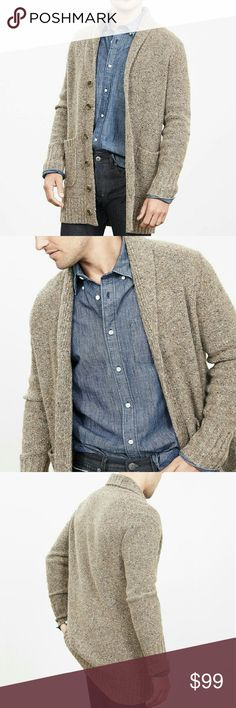 Banana Republic men's wool cardigan large NWT brown wool long cardigan.  Two front pockets, long cut, button front.  The color is called natural stone. Banana Republic Sweaters Cardigan