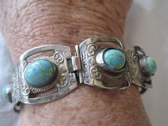 Vintage Mexico Sterling Turquoise Link by VintagObsessions on Etsy, $145.00