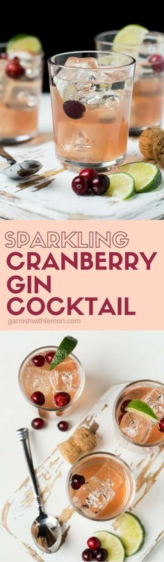 Add a little fun and festivity to your happy hour with this five-ingredient Sparkling Cranberry Gin Cocktail. #gin #cocktails #drinks #cranberry