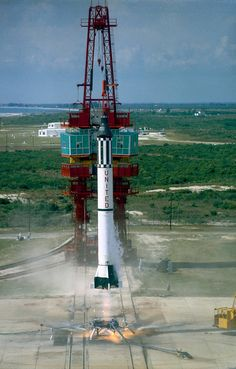 Project Mercury - Image Gallery | NASA    The Launch of Mercury-Redstone   On May 5, 1961, Alan Shepard Jr. became the first American in space when Freedom 7 was launched by a Mercury-Redstone rocket developed at NASA's Marshall Space Flight Center in Huntsville, Ala. The rocket was based on the earlier Redstone rocket developed by Wernher von Braun's team before they transferred from the