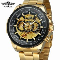 Bright 2019 Winner Classic Golden Skeleton Mechanical Watch Men Leather Strap Top Brand Luxury Man Business Vip Drop Shipping Wholesale Mechanical Watches