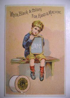 1887 Calendar Trade Card J P Coats' Sewing Thread Little Boy w School Slate