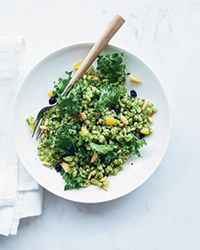 Lemony Barley Salad with Kale Pesto | Kale does double duty here: Some of the leaves are pureed with lemon juice and olive oil for a phenomenal pesto, and some of them are torn into pieces that are stirred into the cooked barley at the end.