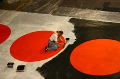 Lech in work. He painted a huge painting Fukuschima.