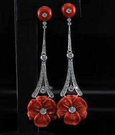 Flores de coral y diamantes larga encantadora raras por hawkantiques
