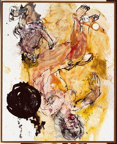 Georg Baselitz, Lesende Mutter, 29. und 30. Mai 1998 --body anatomy through colour and position to evoke emotion