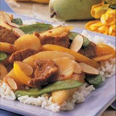 Pork and Pear Stir-fry Recipe -I've served this full-flavored stir-fry for years, always to rave reviews. Tender pork and ripe pears make a sweet combination, and a spicy sauce adds plenty of zip. This dish is a must for help-yourself luncheons or fellowship dinners. -Betty Phillips, French Creek, West Virginia