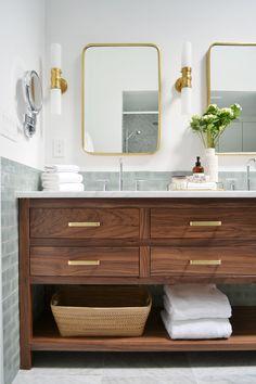 Graydon Double Bath Wall Sconce by Visual Comfort at Lumens. Bathroom Renos, Basement Bathroom, Bathroom Furniture, Bathroom Interior, Bathroom Renovations, Master Bathrooms, Remodel Bathroom, Bathroom Cabinets, Small Bathrooms