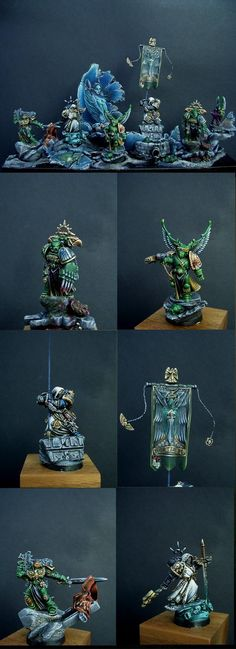 Warhammer 40k Space Marines, a group of Dark Angels Space Marines - including Ezekiel, Asmodai and other Chapter Commanders