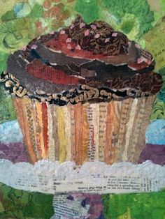 Paper Paintings: Cupcake Collage - art by Elizabeth St. commissioned by A Little Something Bakery in West Hartford, CT Painting Collage, Collage Artists, Food Collage, Cupcake Art, Cupcake Crafts, Kindergarten Art Projects, Magazine Collage, 4th Grade Art, Ecole Art