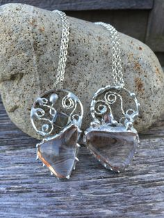 Clear Quartz Crystal with Sterling Filigree Necklace by PixieStixDesigns on Etsy