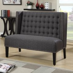 Dark gray tufted upholstered banquette bench is handcrafted for the ultimate in functionality and style. This versatile banquette bench works well in living rooms, dining rooms, and kitchens Settee Dining, Banquette Bench, Dining Bench, Dining Rooms, Entryway Bench, Kitchen Banquette, Kitchen Seating, Entryway Ideas, Sofa Bench