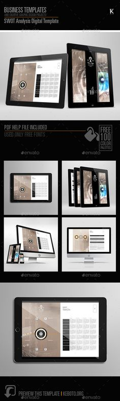 SWOT Analysis Template Business powerpoint templates, Fonts and