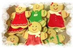 Gingerbread girls and boys make great gifts at Christmas.  Make from sugar cookies and decorate with royal icing.
