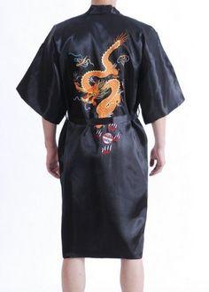 Free Shipping New Black men's Robe Satin Polyester Embroider Dragon Kimono Robe Gown Wholesale Retail  M L XL XXL XXXL