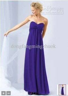 David's Bridal Regency Long Sheer Chiffon Dress With Beaded Neckline Style F14867 Dress $87