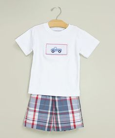 Take a look at this White Truck Smocked Tee & Plaid Shorts - Infant & Toddler by Sweet Teas Children's Boutique on #zulily today!