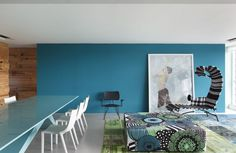 I love the wall colour! <3 (I totally dislike the black&white chair!)     RL House by Studio Guilherme Torres