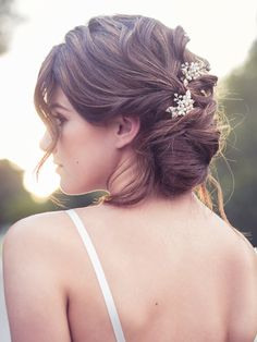 Bridal flower comb set crystal pearl hair brooch wedding от Elibre