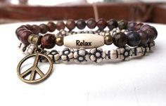 Relax Bracelet Peace Bracelet Pietersite Boho by BlueStoneRiver, $27.95