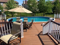 Composite Pool Deck with TimberTech Brown Oak