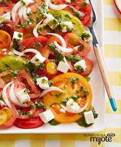 Don& your heirloom tomatoes deserve the best? Showcase them in this delicious salad made with Vidalia onions, aromatic feta and fresh herbs. Onion Recipes, Salad Recipes, How To Make Salad, Food To Make, Cooking Recipes, Healthy Recipes, What's Cooking, Healthy Foods, Healthy Eating