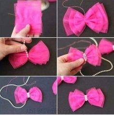 Cute and Easy Valentine Hair Bow Tutorial - Bakerette Tulle Hair Bow Tutorial--I have so much leftover tulle from that skirt I made! Valentine Hair Bow Tutorial by Jonie at Just-Between-Friends. Pinwheel bow or clip - Salvabrani Tulle Hair Bows, Diy Hair Bows, Ribbon Bows, Diy Ribbon, Ribbon Flower, Ribbon Hair, Hair Ribbons, Pink Tulle, Dog Bows