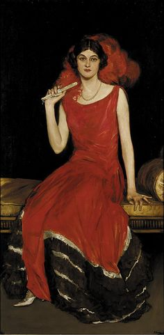 """Lady in Red: Portrait of Constance Bridges"""" (19th century), Sir John Lavery"""