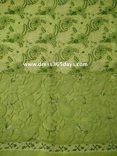 Buy Green Cotton Unstitched Kurta Fabric with Chikankari and Net Applique Daaman