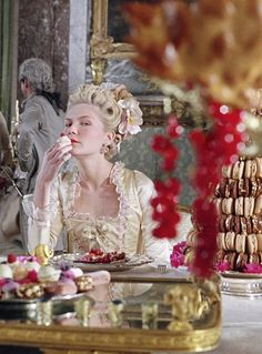 Marie Antoinette- the soundtrack, the colors, the castle, the clothing, the food, Sophia Coppola's directing, and Kirsten Dunst... love.